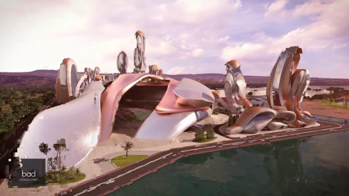 Un futuro palazzo di Akon City, la futura città ispirata al Regno di Wakanda