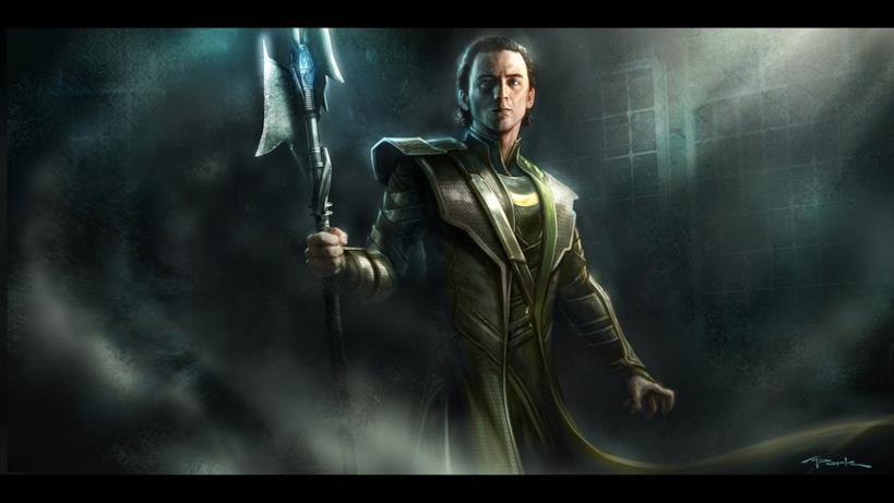 Loki con in mano una versione alternativa dello scettro