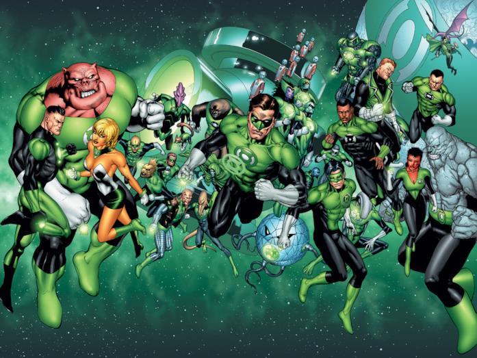 Illustrazione di Hal Jordan (al centro) e il Corpo delle Lanterne Verdi