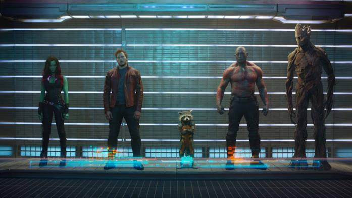 I Guardiani della Galassia uno accanto all'altro