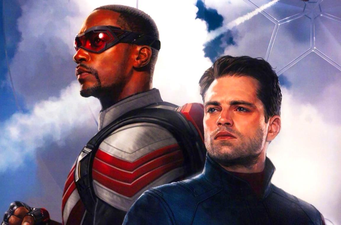 Sam Wilson (sinistra) e Bucky Barnes (destra) nel poster di The Falcon and the Winter Soldier