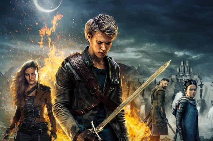 Wil impugna la spada mentre alle sue spalle ci sono Eretria, Allanon e Mareth