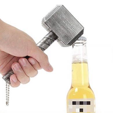 ASEOK Thor Hammer apribottiglie, apribottiglie Big Bar Vino, Mjolnir Quake Birra apribottiglie, Perfetto per Bar e per Uso Domestico (Argento)