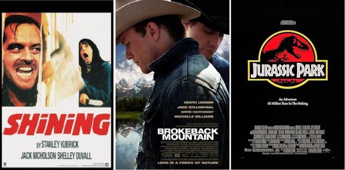 Collage di Shining, I segreti di Brokeback Mountain e Jurassic Park