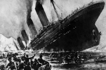 Il Titanic mentre affonda