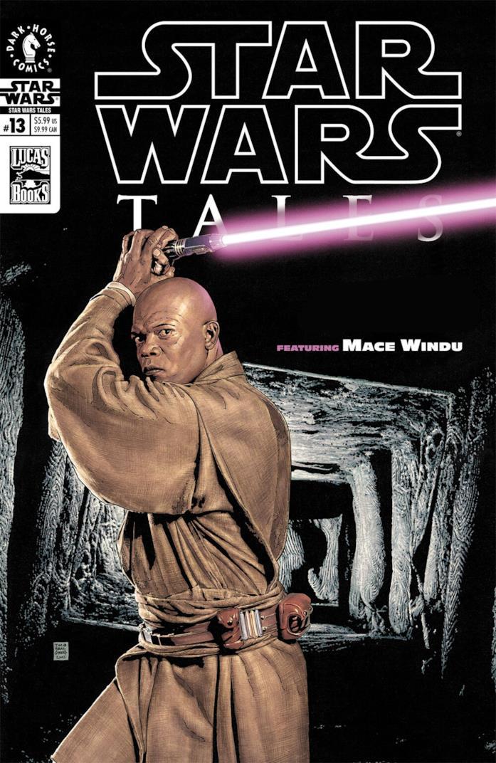 Mace Windu con la spada laser viola sulla cover di un fumetto americano