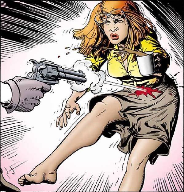 Pagina del fumetto in cui Barbara Gordon riceve un colpo di pistola dal Joker