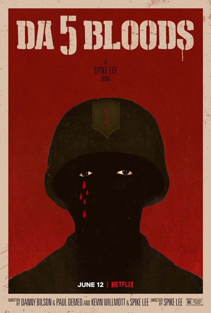Il poster nero e rosso di Da 5 Blood