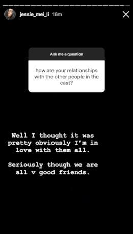 Jessie Mei Li risponde a una domanda sui cast della serie