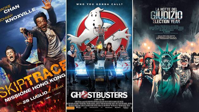 Le locandine di Skiptrace - Missione Hong Kong, Ghostbusters e La Notte del Giudizio: Election Year