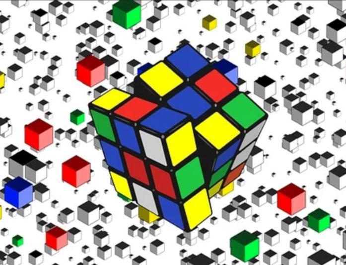 Un cubo di Rubik mentre ruota
