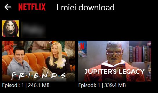 Friends e Jupiter's Legacy nella sezione I miei download dell'app Netflix