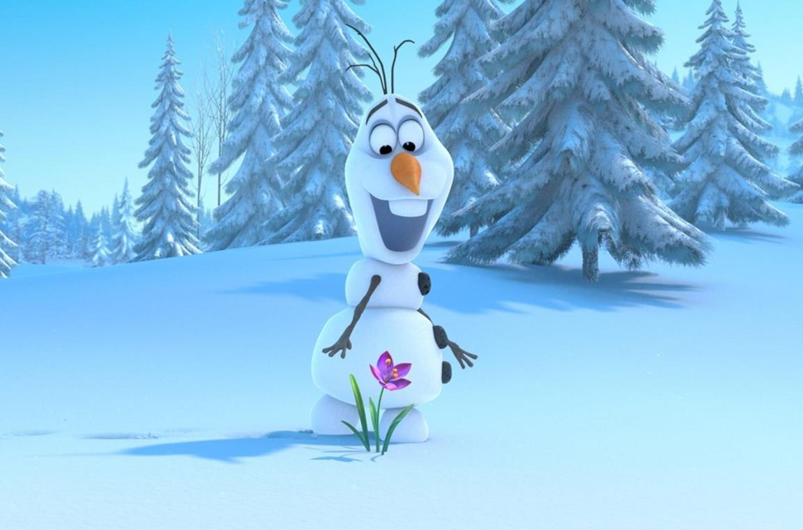 Olaf mentre raccoglie un fiore tra la neve