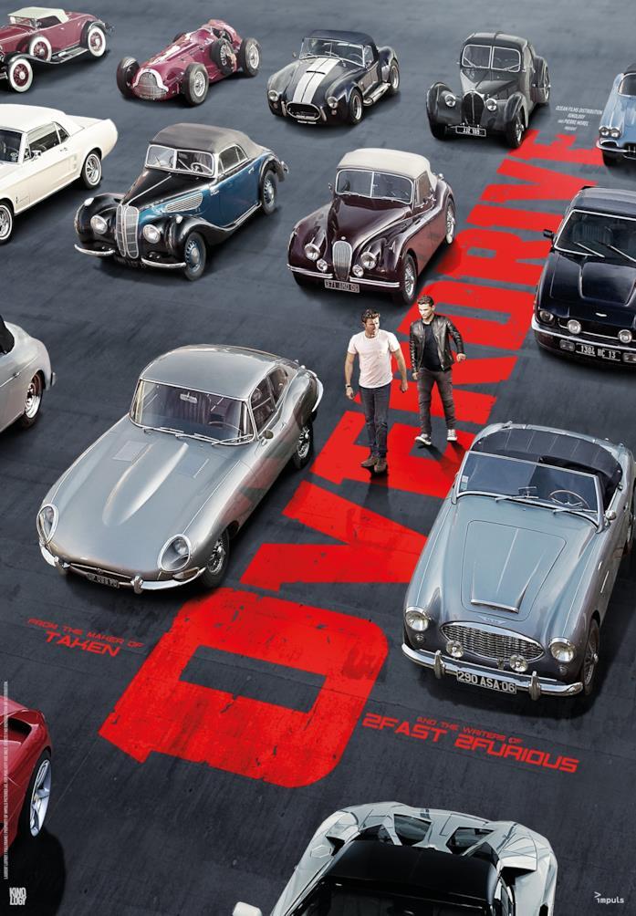 Il poster di Overdrive con tutte le auto del film