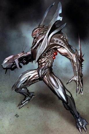 Un alieno che sembra fatto di metallo e ha gli occhi rossi