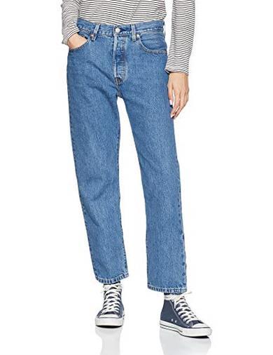 Levi's 501 Crop Jeans Straight, Blu, 30W / 26L Donna