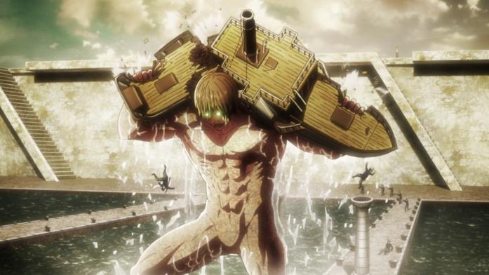 Un gigante distrugge una nave a vapore