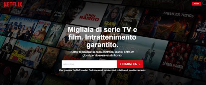 Screen della landing page di Netflix a giugno 2020