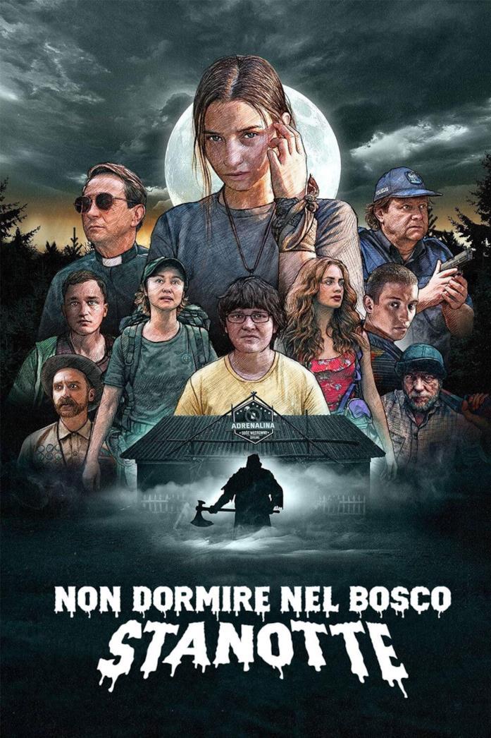 Il cast nel poster di Non dormire nel bosco stanotte