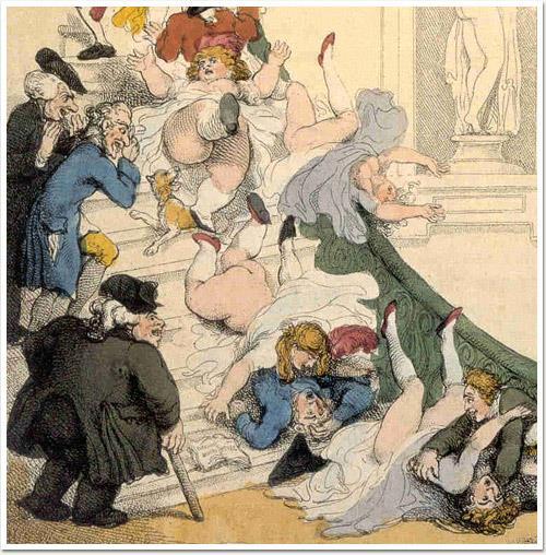 Nella vignetta alcune donne scivolano sulle scale, cadendo ed esponendo il loro lato b agli sguardi dei presenti