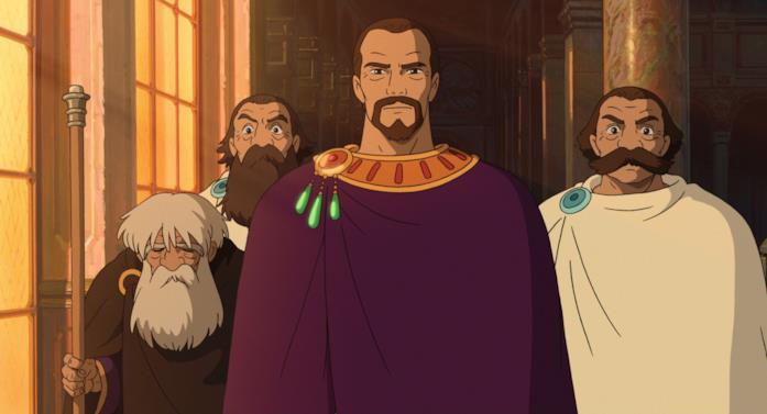 Il re e i suoi consiglieri passeggiano per il castello discutendo