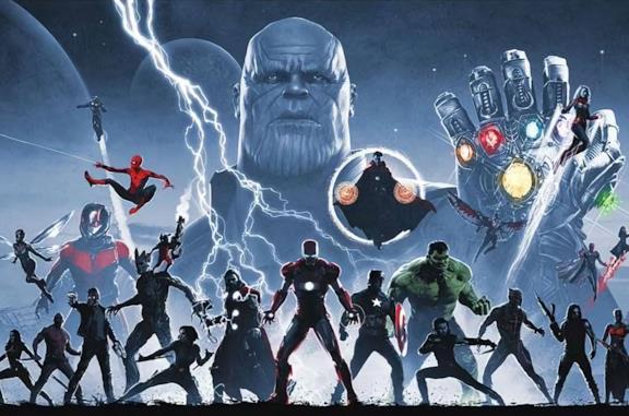 Thanos e gli eroi Marvel