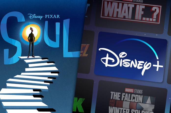 A sinistra la locandina di Soul, a destra il logo di Disney+