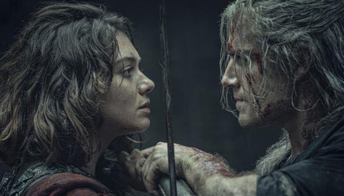 Henry Cavill ed Emma Appleton in una scena da The Witcher