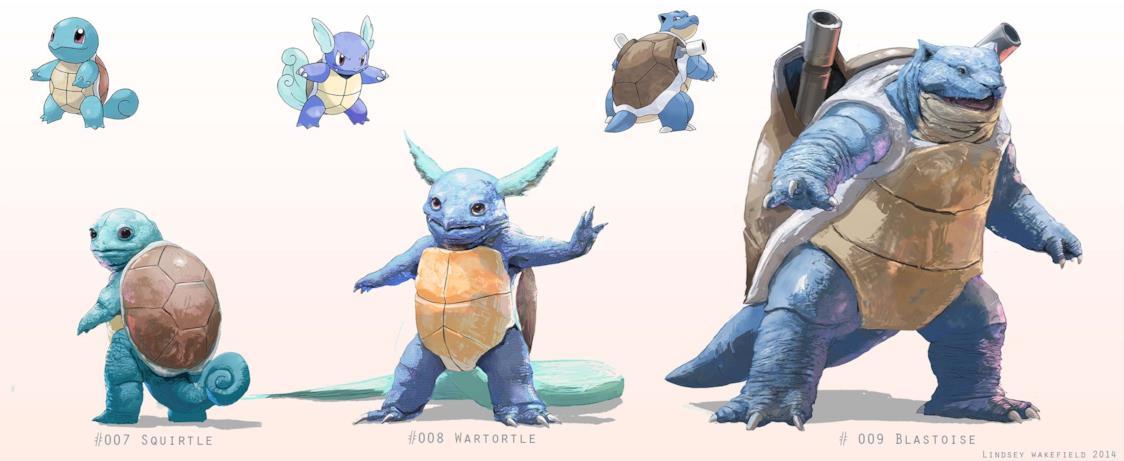 Le iper-realistiche evoluzioni di Squirtle disegnate da Lindsey Wakefield