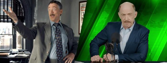 A sinistra J. Jonah Jameson in Spider-Man del 2002, a destra J. Jonah Jameson in Spider-Man: Far From Home