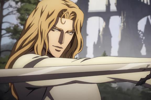 Un'immagine di Alucard nella terza stagione di Castlevania
