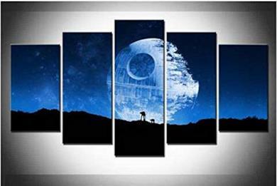 DJxqJ 5 Quadro su Tela Telaio Arte Astratta Death Star 5 Pezzi Canvas Art Print Picture Wall Decor