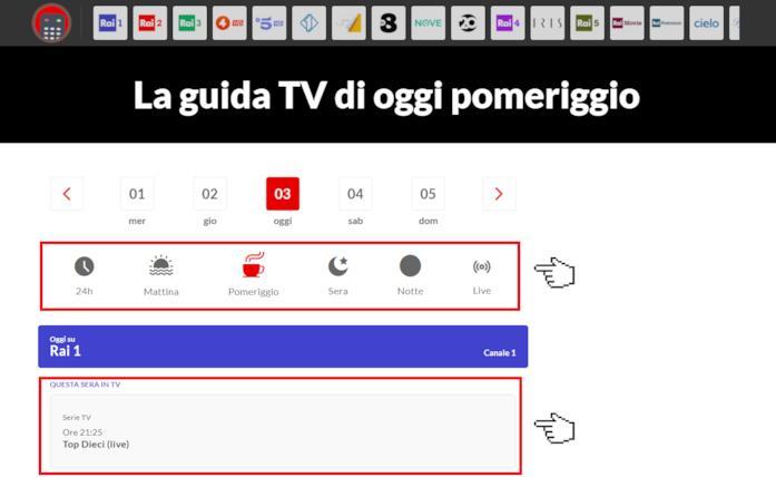 Screen della Guida TV di NoSpoiler