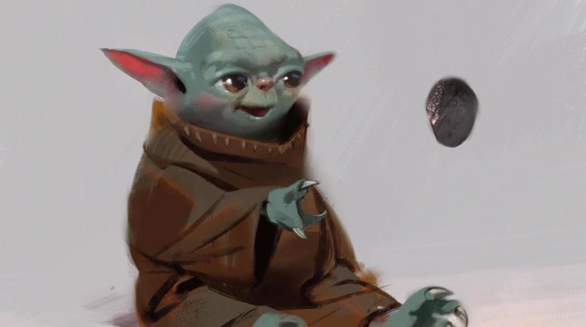 Un bozzetto successivo di Baby Yoda lo mostra molto somigliante a Yoda stesso