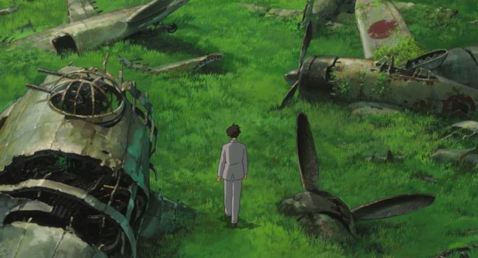 Jiro cammina tra i rottami dei propri aerei in un sogno