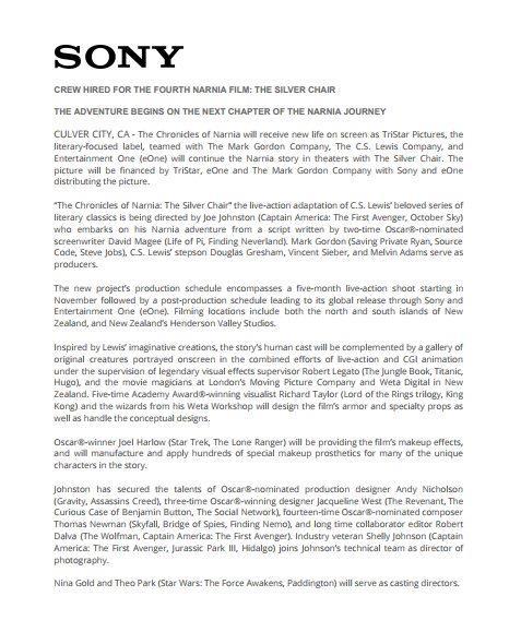 Una pagina del comunicato stampa sony