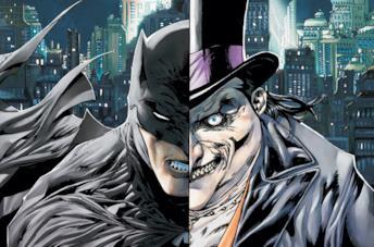 Batman (sinistra) e Pinguino (destra) in una tavola DC Comics