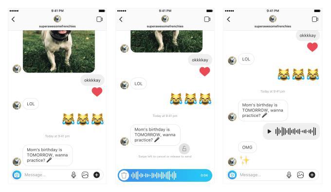 Schermate della funzione Walkie Talkie di Instagram