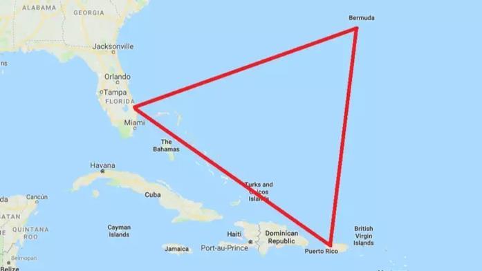 La mappa raffigurante il Triangolo delle Bermude