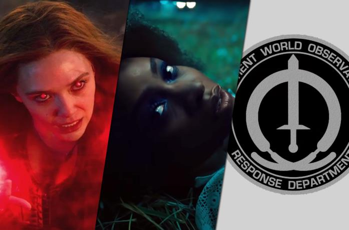Da sinistra Scarlet Witch, Monica Rambeau e il logo dello SWORD