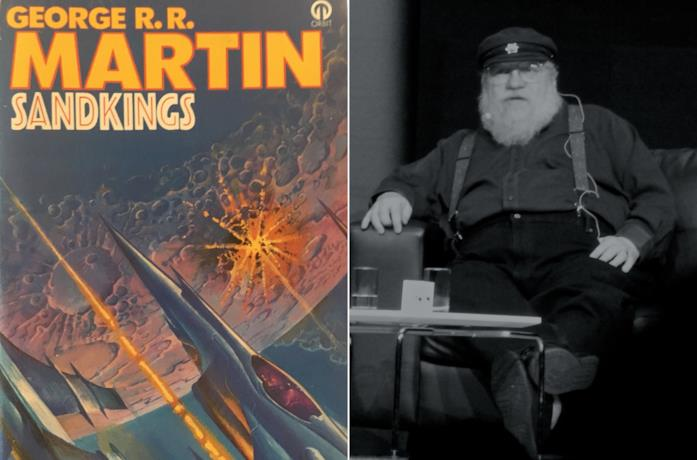 La copertina del libro Sandkings e George R. R. Martin a un evento in Australia