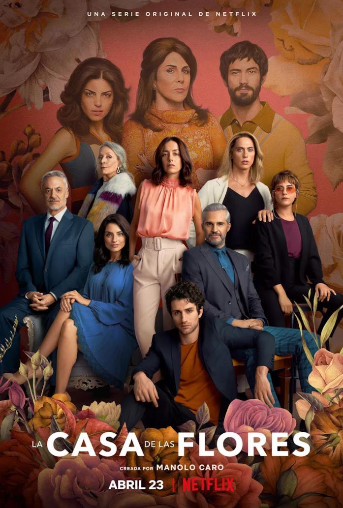 Il poster con tutti i personaggi principali della terza stagione di La Casa de las Flores