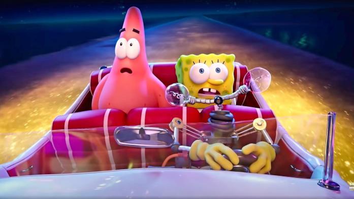 SpongeBob e Patrick, mentre si trovano nei sedili posteriore di un'automobile, trovano una splendida città