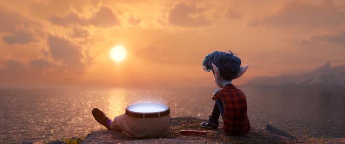 Il protagonista osserva il tramonto con suo padre