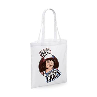 Shopping bag in cotone Stranger Things She's our friend and she is crazy - Dustin - serie tv - dimensioni: 38 x 42 cm