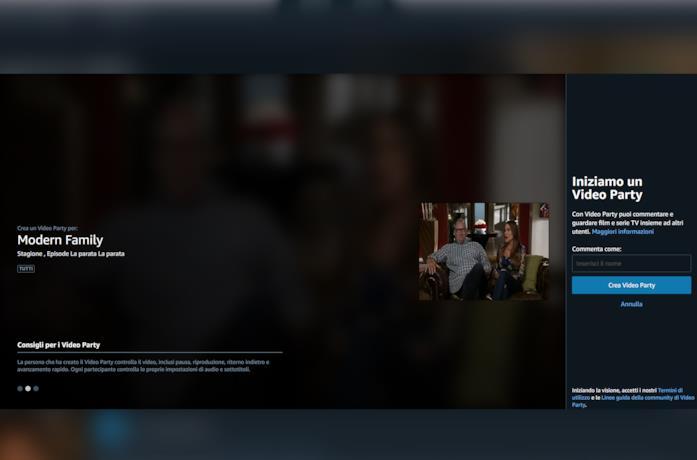 La schermata principale di Video Party