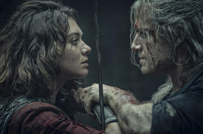 Renfri e Geralt in The Witcher