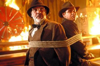 Sean Connery ed Harrison Ford in una scena tratta da Indiana Jones e l'Ultima Crociata