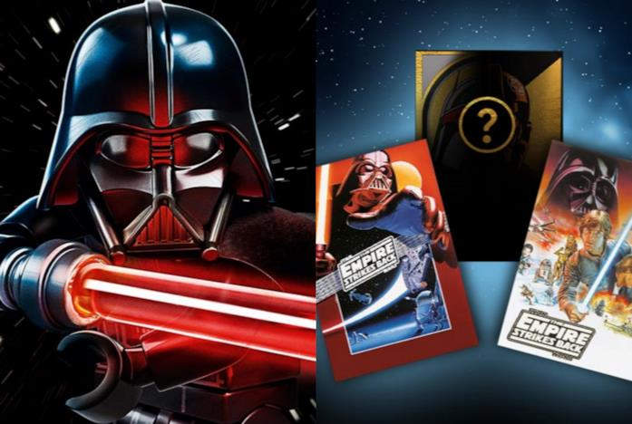 Le carte di Star Wars LEGO e la minifigure di Darth Vader