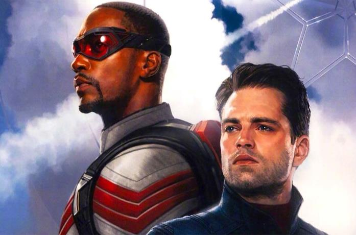 Sam Wilson e Bucky Barnes nel poster promozionale di The Falcon and The Winter Soldier
